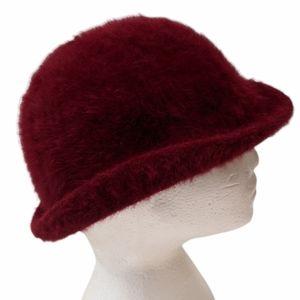 Vintage women's burgundy angora wool blend hat